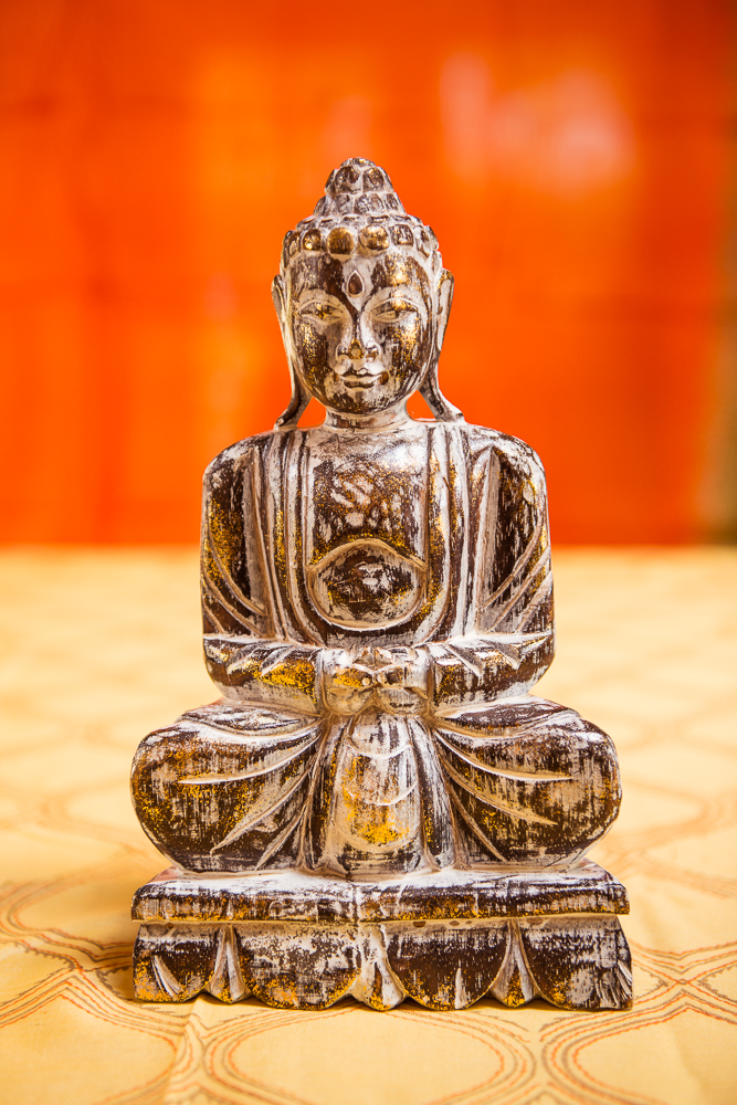 Hand-carved Wooden Buddha 12″