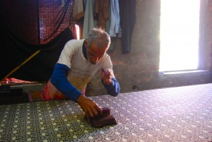 Block printing the traditional way
